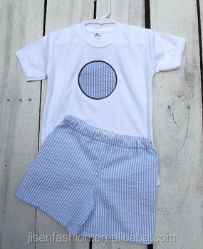 8f755601a Seersucker Cusomed Monogram Summer Baby Boy Clothes - Buy Baby Boy ...