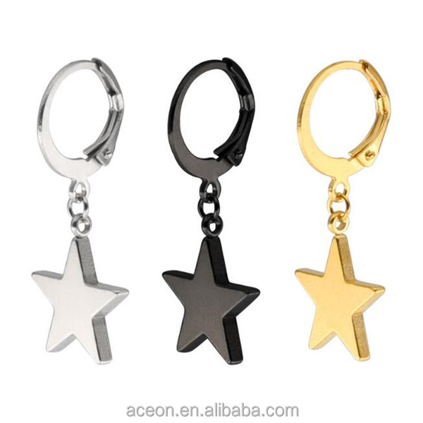 Yiwu Aceon Customized Drop Earring Surgical Stainless Steel Star Charm Hoop Earring