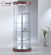 Custom Design Free Standing In Store Marketing Led Lighting Rotating Oval Round Glass Display Cabinet