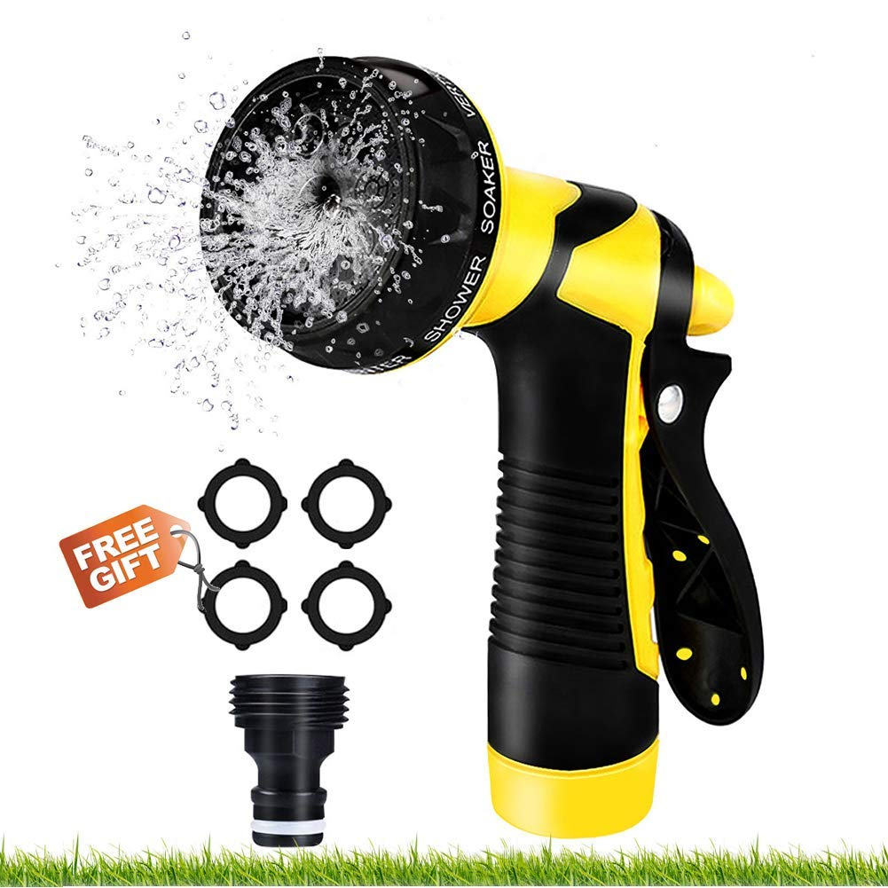Malocaos Garden Hose Nozzle Water Hose Spray Nozzle with Outdoor Heavy Duty 8 Adjustable High Pressure Patterns for Watering Plants, Cleaning Lawn, Car Wash, Gardening and Showering Pets