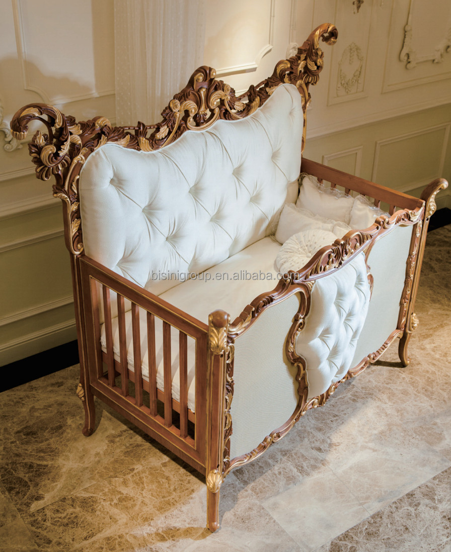 Antique Rococo Beech Wood Customized New Born Baby Bed