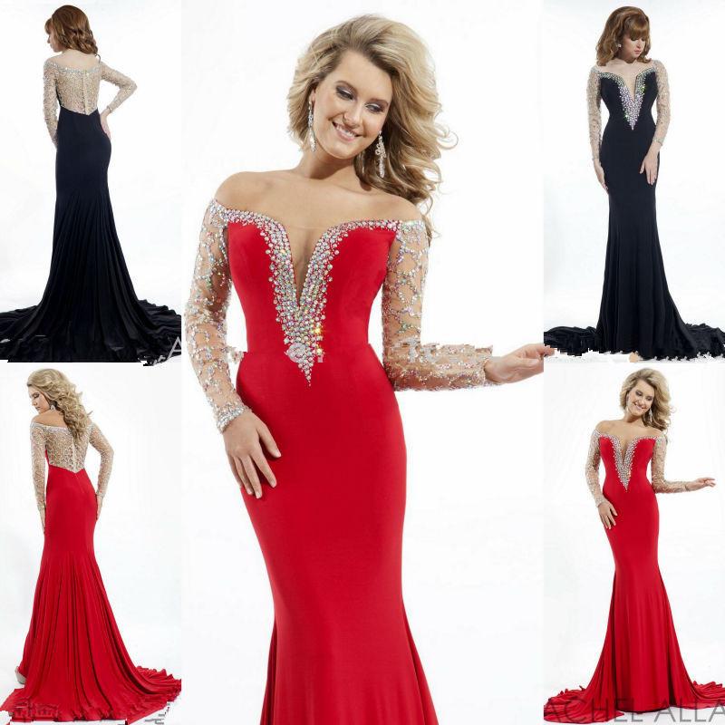 Mermaid Red Black Long Sleeved Rhinestone Prom Dresses ...