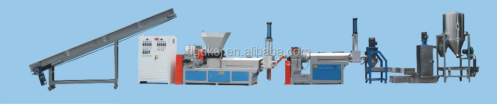 South Africa hot sale DEKE Double shaft double stage plastic film granulating line(water ring cutting)
