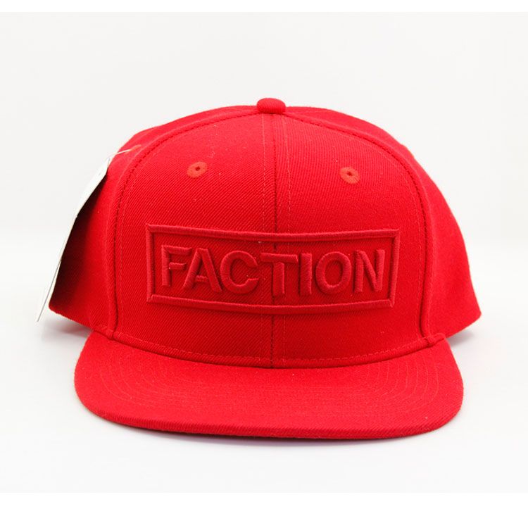 custom 3d embroidered logo red cotton snapback hat with hang tag