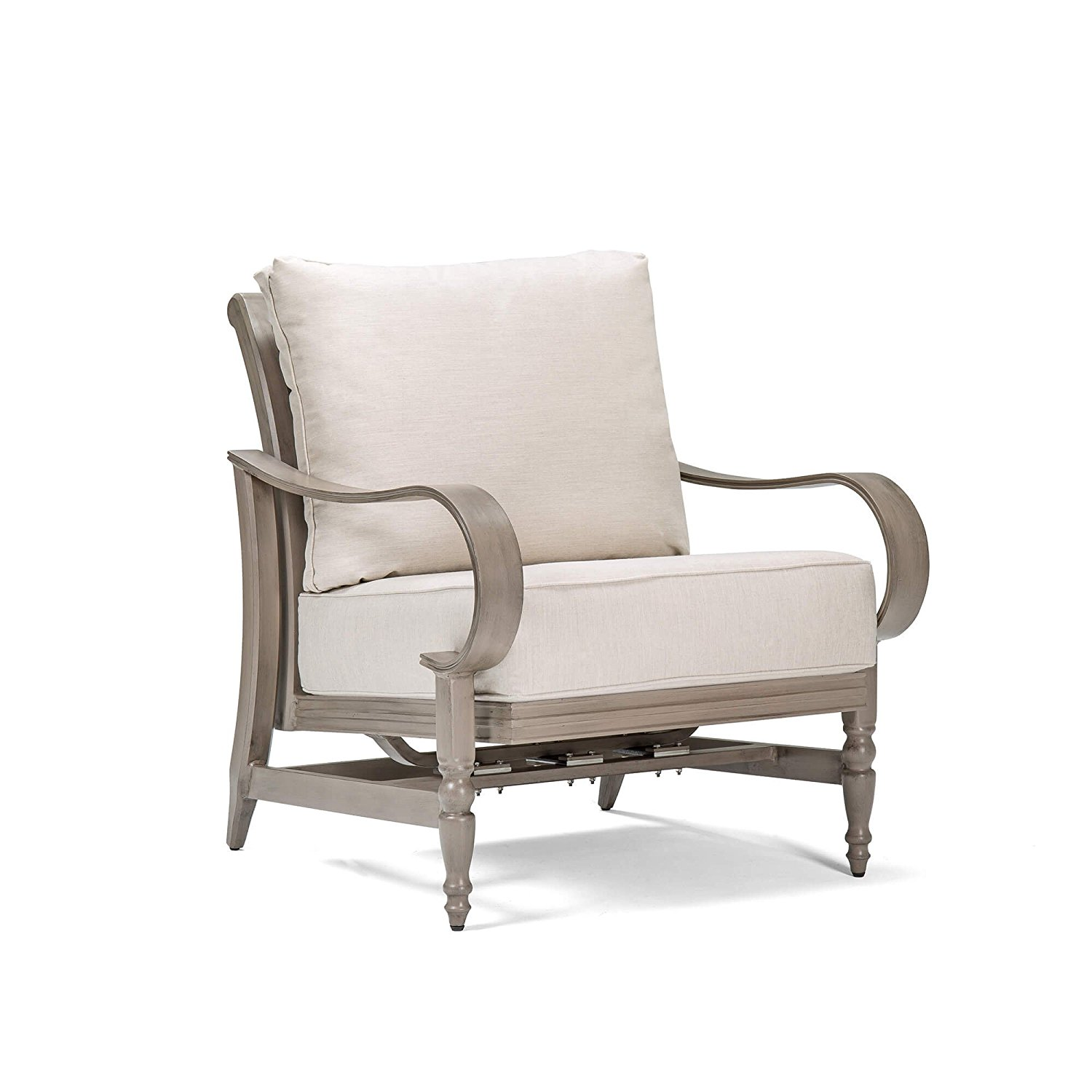 Blue Oak Outdoor Saylor Patio Furniture Hidden Motion Lounge Chair with Outdura Remy Sand Cushion