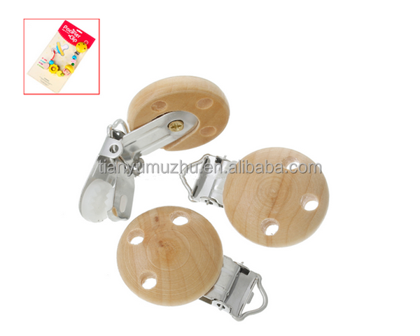Natural Round 3 Holes Design Wood Baby Pacifier Clips