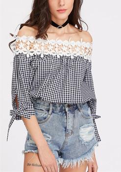 8012e43ec2978 Punjabi Suit Lace Design Floral Crochet Neckline Gingham Blouse Off  Shoulder Top hst2067