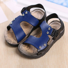 2016 New Fashion Summer Baby Boys Shoes Solid PU Beach Slippers Kids Toddler Flip Flops Childrens