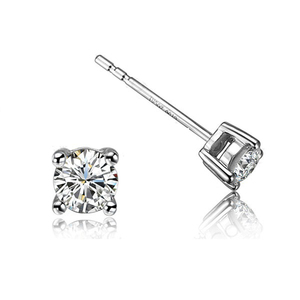 3-6mm prong setting silver jewelry single stone designs diamond earring stud