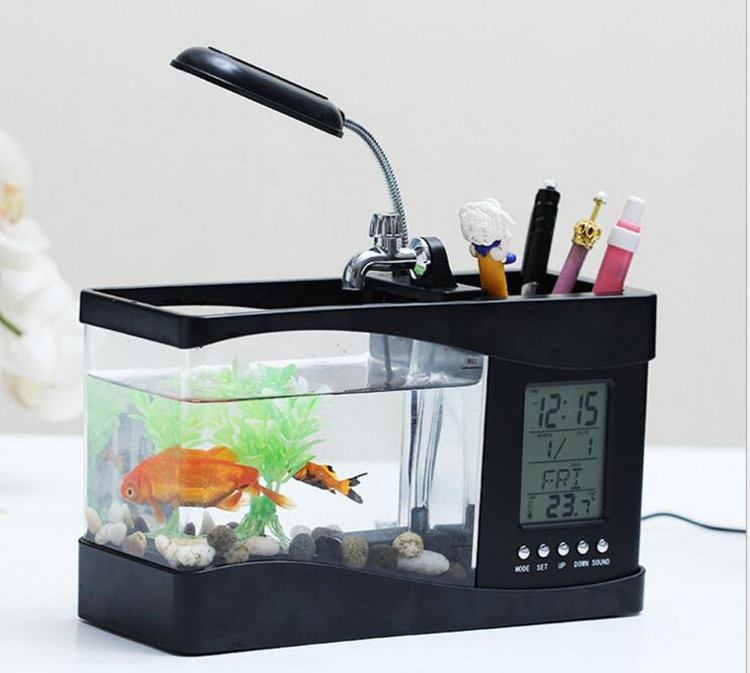 Multifonctionnel Mini Usb De Bureau Lcd Lampe Recirculation D'aquarium D'aquarium Led Petits Poissons Réservoir Avec De L'eau Courante Buy Aquarium