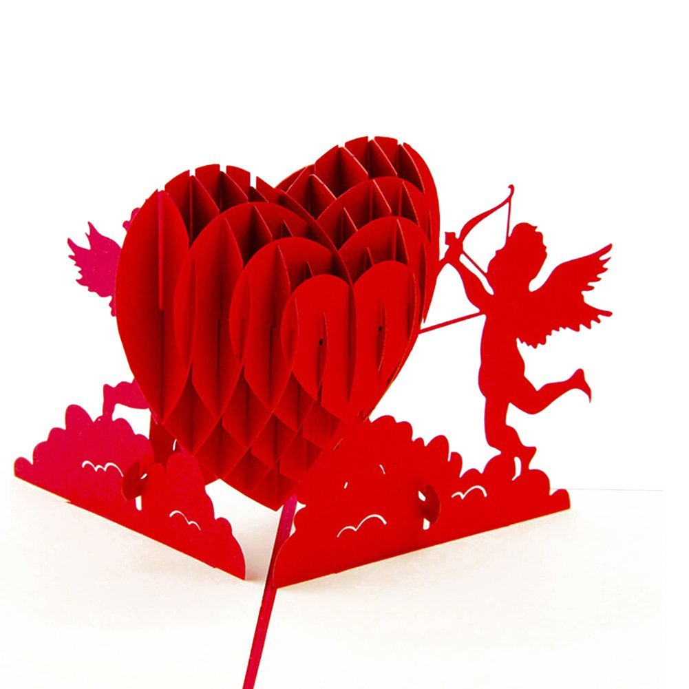 Buy Sizet Cupid Love Heart 3D Pop Up Greeting Cards Postcards ...