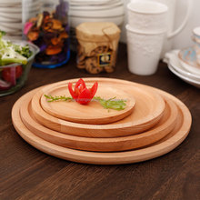 Beech Wood Plate Round Breakfast Plate Tea Tray Wooden Serving tray Set