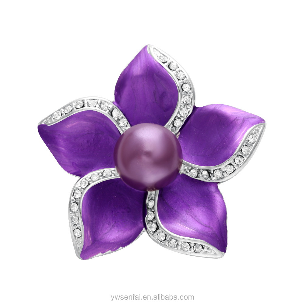 Alibaba new coming beautiful purple rhinestone flower brooch silver plated