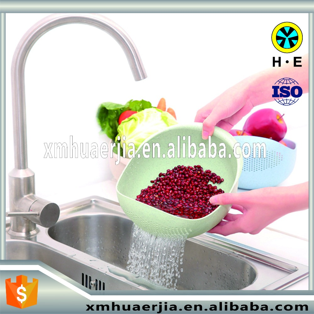plastic rice washing beans fruit vegetable basket basin with apertures