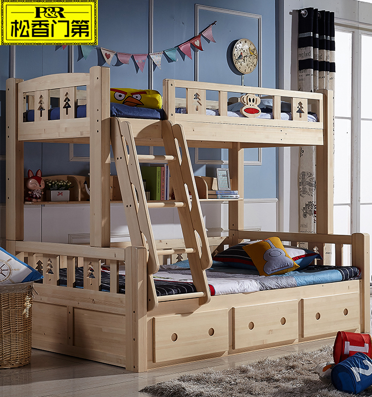 Children bedroom furniture wooden bunkbed with drawers