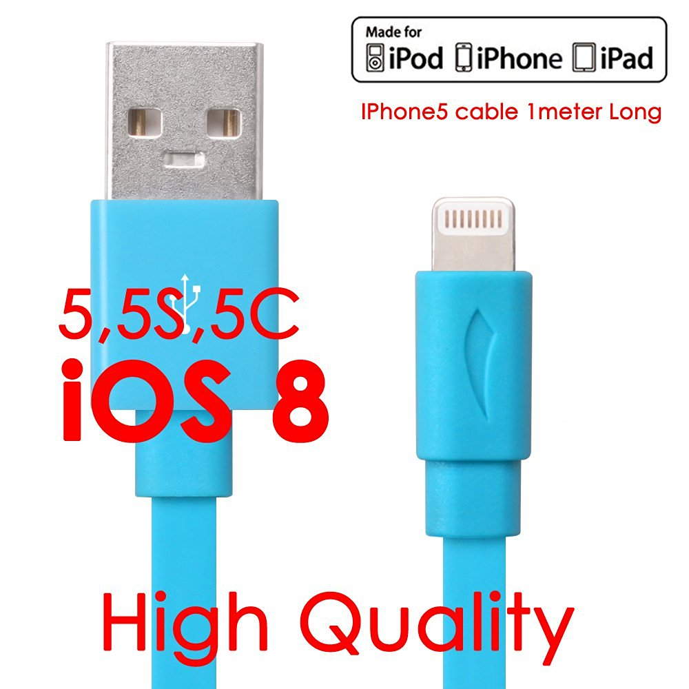 Apple Certified / MFi Approved - Flat Tangle-Resistant USB to Lightning 3.3 FEET (1 Meter) Charge & Sync Cable fits all Apple Devices with Lightning Connector - iPhone 5 / 5S / 5C / 6, iPad 4, iPad Mini, iPad Air, New iPod Touch and Nano (Retail Packaging) Blue - YellowKnife