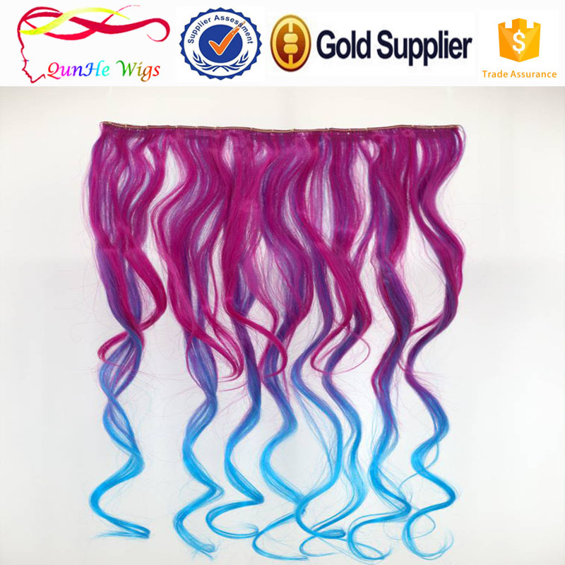 hairpieces and wigs for sale cheap BB clip in hair wig 5clips onepiece colorful wave hair extentions