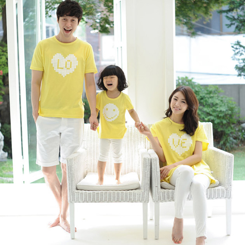South Korean children summer style 2016 family wear couples clothes Short sleeve T shirts family matching