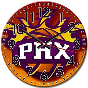 Frameless Phoenix Suns Round Wall Clock Silent Clock Arabic Numbers Perfect 10 Inch / 25 cm Diameter