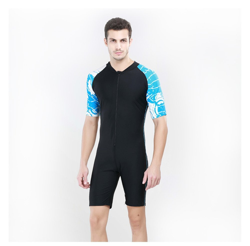 Fortuning's JDS® Fashion one-piece short sleeve surfing swimwear swimsuit for men
