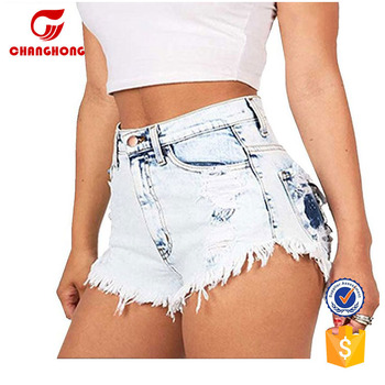 4339d10832 Custom White High Waist Washed Ripped Destroyed Denim Short Shorts Jeans