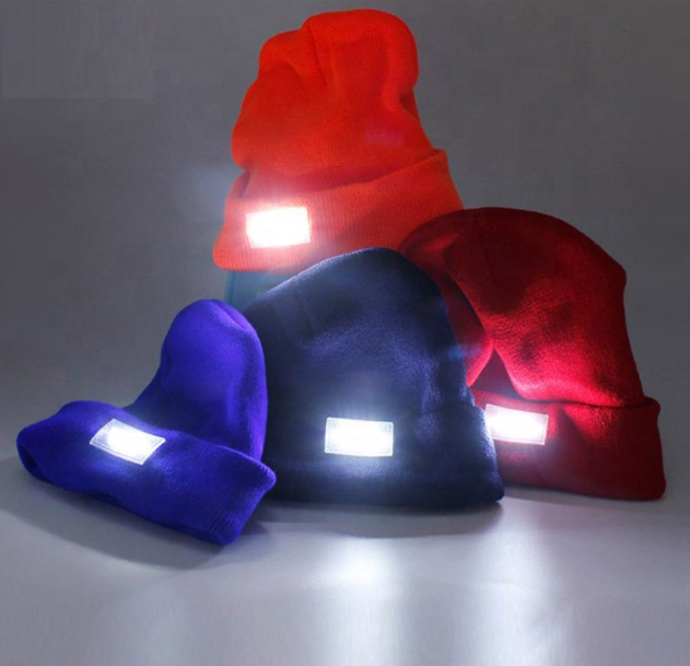 2018 <strong>New</strong> Cycling <strong>Hat</strong> LED Light Cap Knit Beanie <strong>Hat</strong> with Batteries Outdoor Hunting Camping Fishing At Night