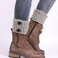 Hot Sale Rib And Cable Knit Button Decorated Short Leg Warmer Boot Cuffs