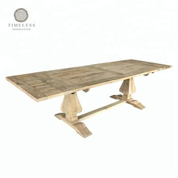 Reclaimed Elm Wood Trestle Extendable Dining Table Product On