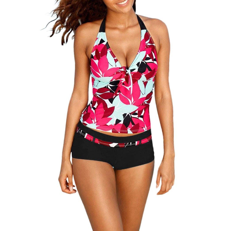 89a3d1bfc68f5 Get Quotations · Meyerlbama Women Bikini Set, Ladies Tankini Sets with Boy  Shorts Juniors Swimwear Two Piece Swimsuits
