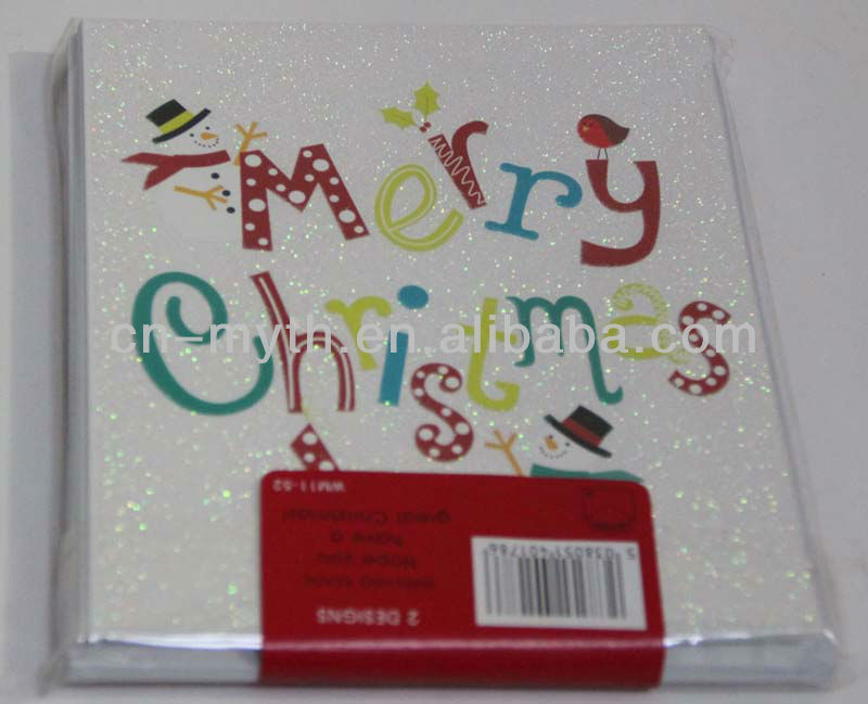 glitter paper card for christmas greetings