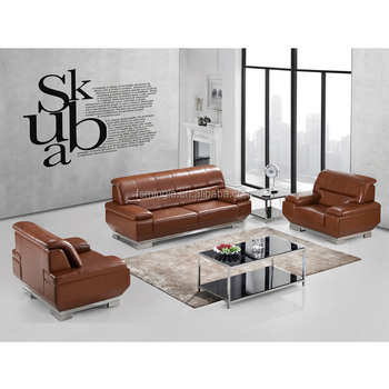 Stainless Steel Base Luxury Couches High End Tan Leather Office Sofa H5003