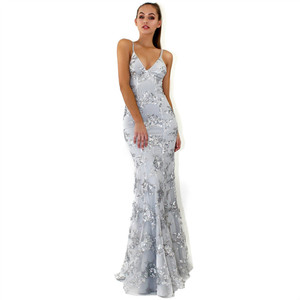 2a6cba0727 Wholesale sexy v-neck tulle long mermaid lace sequin gowns women designer  evening prom dress