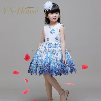 32df1d079dc7e Bule Girl Flower Dress Girl Party Dresses Princess Children dress for 11  year olds