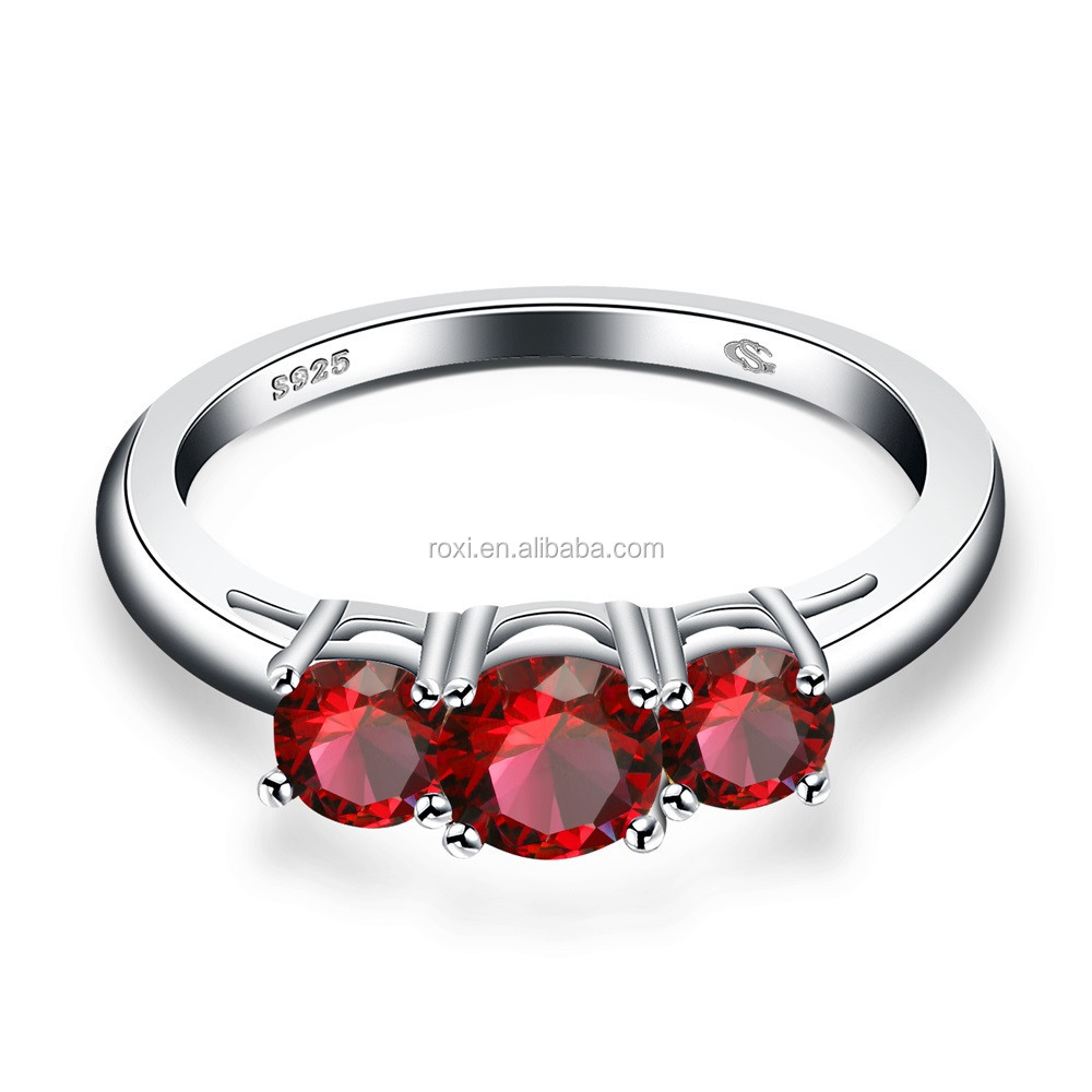 latest simple design silver ring red Shiny Three Zircon 925 Sterling Silver anniversary Rings