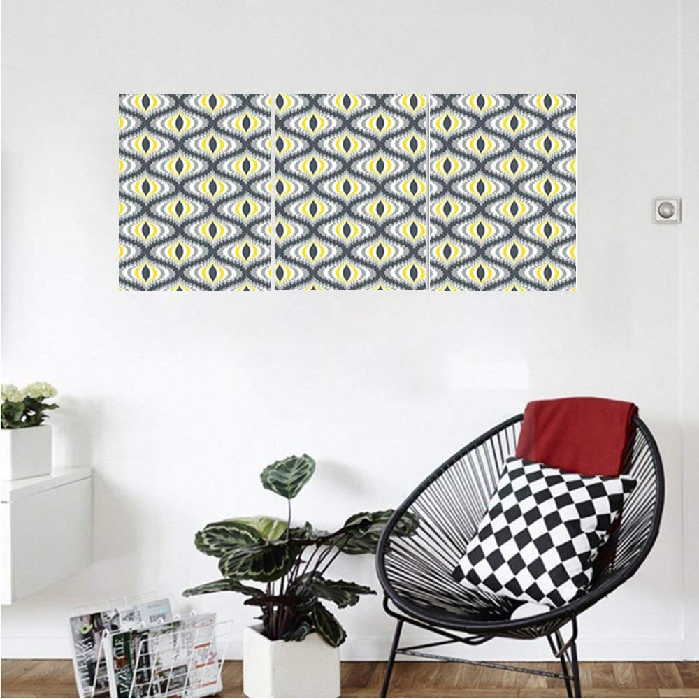 Liguo88 Custom canvas Ikat Decor Collection Wavy Round Colorful Damask Ikat Motifs Exotic Oriental Asian Style Decorative Home Bedroom Living Room Wall Hanging Black Yellow Grey