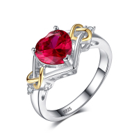 JewelryPalace Love Knot Heart 2.5ct Created Red Ruby Anniversary Promise Ring 925 Sterling Silver 18K Yellow Gold