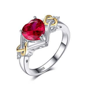 Love Knot Heart Created Red Ruby Ring Engagement 925 Sterling Silver Jewelry 18K Yellow Gold Rings For Women From JewelryPalace