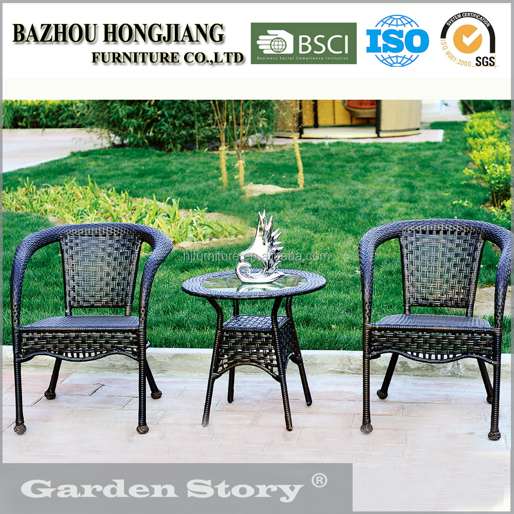 HJ-23 Steel chair and round coffee table made in China used PE wicker& rattan furniture