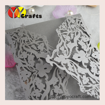 Pearlscent Paper Laser Cut Arabic Birthday Greeting Card Silver Wedding Invitation Cards