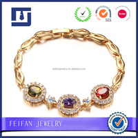 Fashion Brand handmade 14k gold wristband charm 3 color crystal bracelets for women