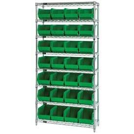 Wire Shelving With (28) Giant Plastic Stacking Bins Green, 36x14x74