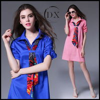 New women's silk dress female loose shirt skirt in summer dress pure color career