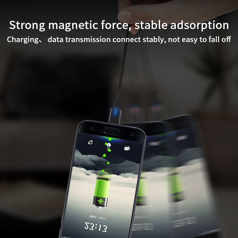 3 in 1 Phone 3A Fast Charger Cable for iPhone Micro Type C Charging USB Magnetic Cable