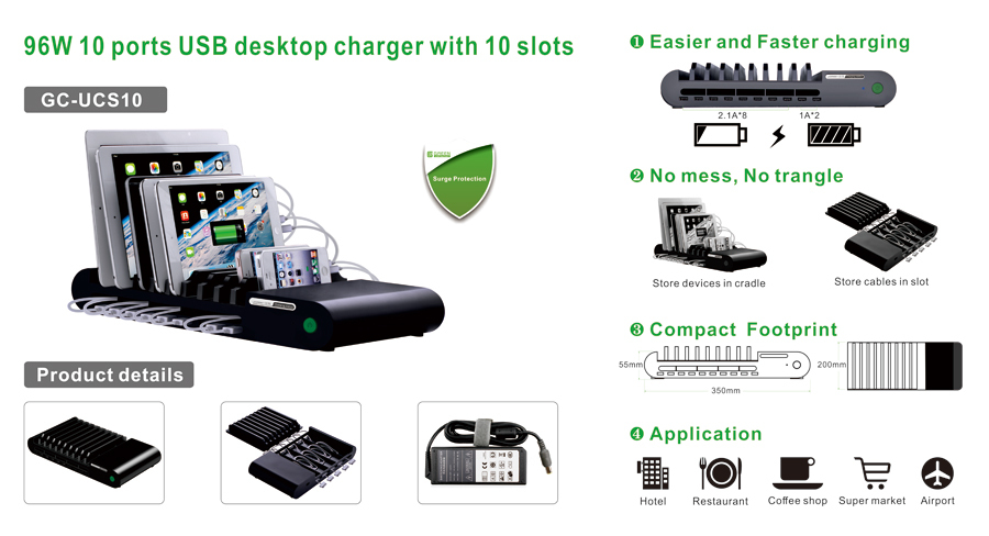 96w 10 Port Multi Device Charging Station