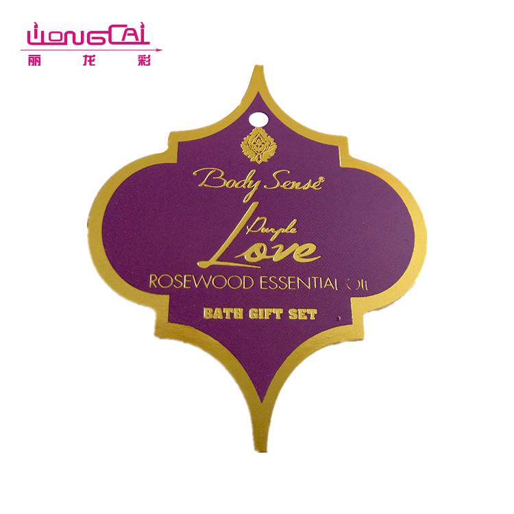 Hot gold stamping printing unique shape hanging tags cards for bath gift set