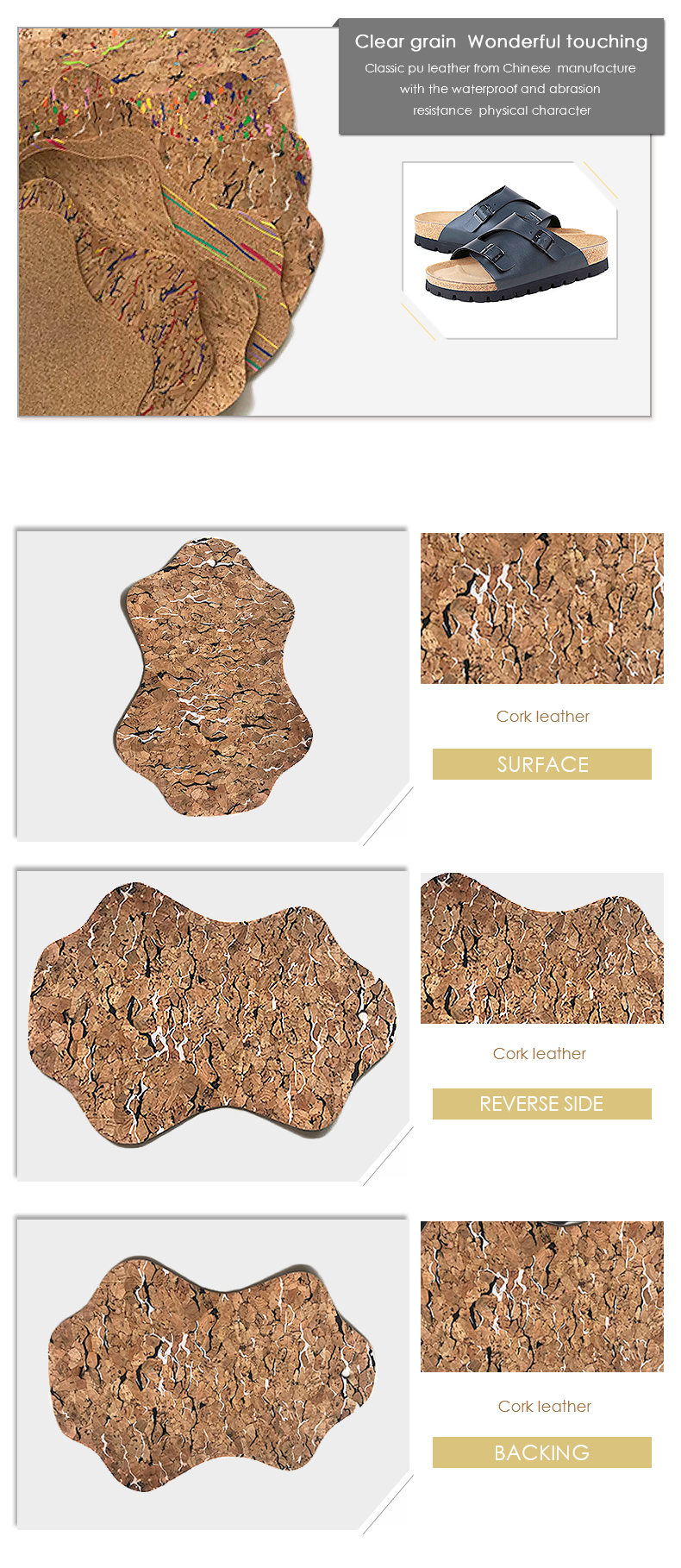 Micooson Good Quality Natural Cork Fabric Material For Slipper Sole