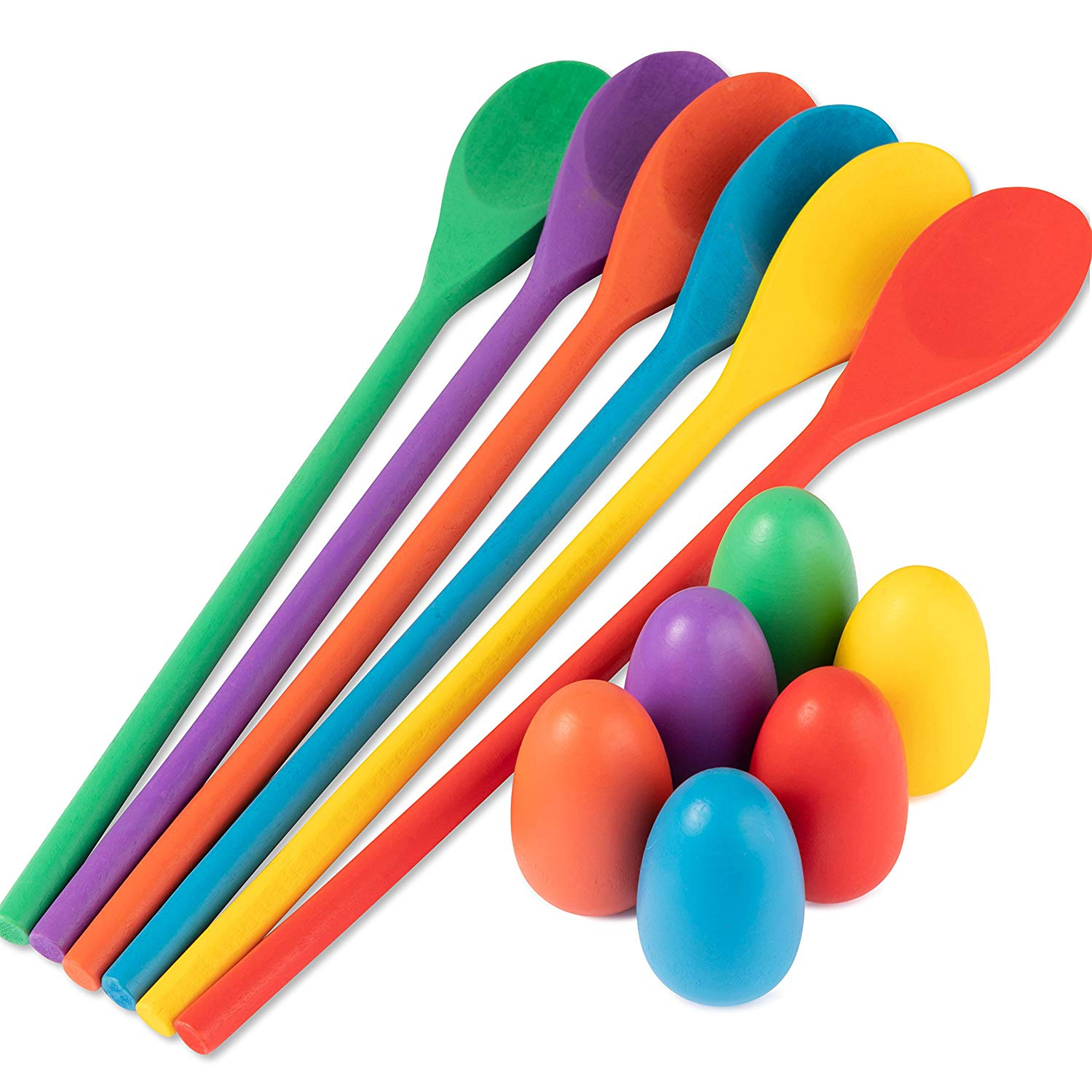6 Sets of Wooden Spoons /& Eggs with Cute F... iBaseToy Egg and Spoon Race Game