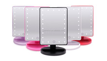 AA Battery operated cordless tabletop led vanity mirror,led desktop mirror with touch sensor switch