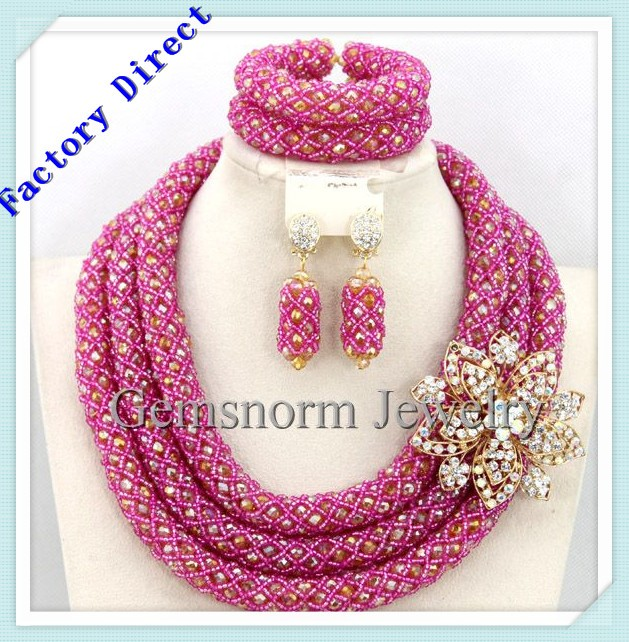 fashion pink crystal beads jewelry set for women african costume jewelry nigerian wedding necklace bracelet set GWH0049