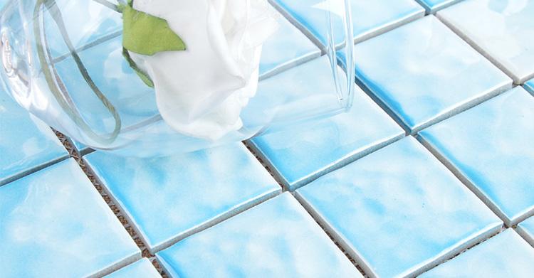 Cina premium blu satinato marocchino ceramica mosaico di vetro